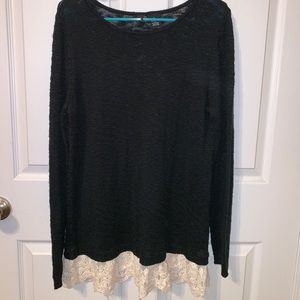 Black Sweater With Lace at the Bottom